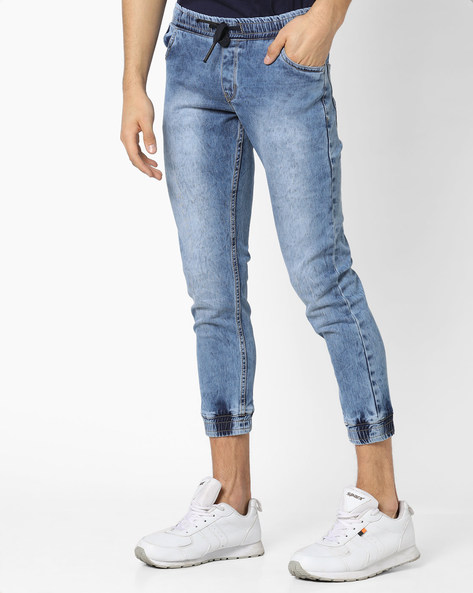Mid-Washed Tapered Fit Jogger Jeans By DEEZENO ( Darkblue )