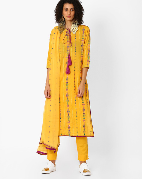 Embroidered Kurta With Pant & Dupatta By Uptowngaleria ( Yellow )