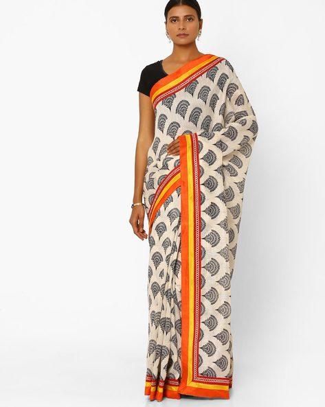 Printed Silk Bhagalpuri Saree By Florence ( Offwhite )