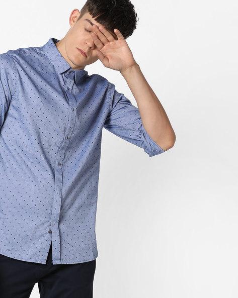 Slim Fit Cotton Shirt By AJIO ( Blue )