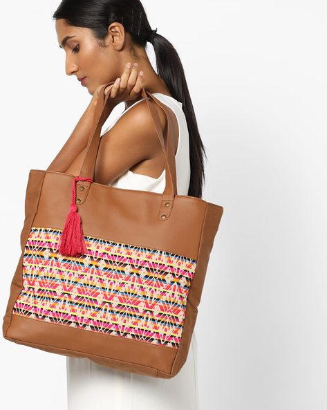 Printed Jacquard Tote Bag With Tassels By Kanvas Katha ( Tan )