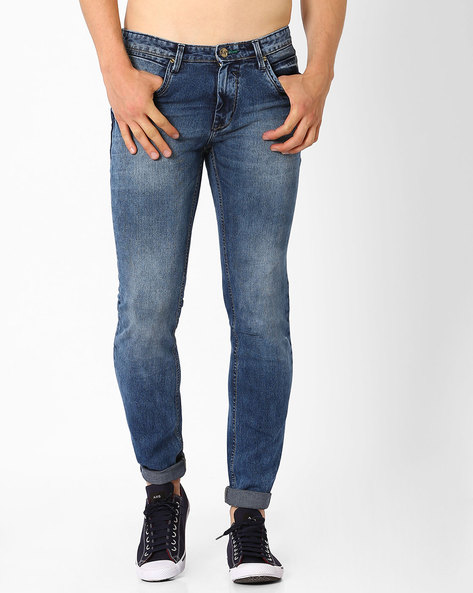 Lightly Washed Slim Fit Jeans By SIN ( Indigo )