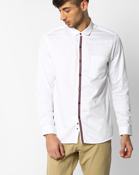 Regular Fit Shirt With Patch Pocket By NETPLAY ( White )