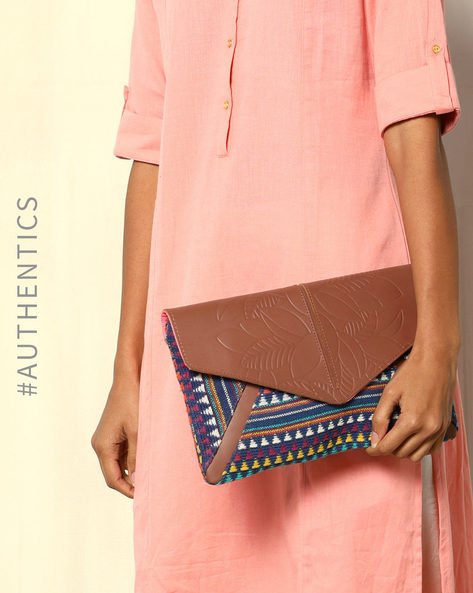 Handloom Cotton Jacquard Genuine Leather Envelope Clutch By Neonia ( Blue )