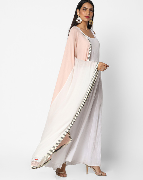 Half & Half Dupatta With Contrast Taping By W ( Pink )