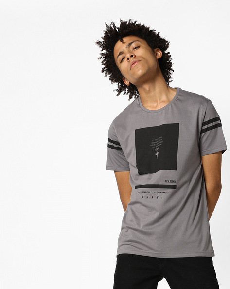 Graphic Print Cotton Crew-Neck T-shirt By AJIO ( Grey )