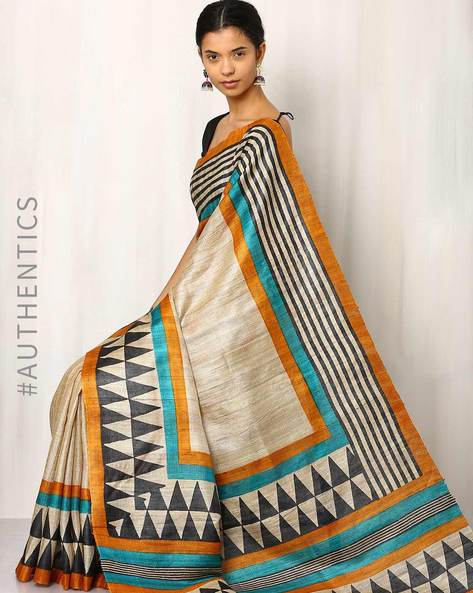 Handblock Print Pure Kosa Ghicha Silk Saree By Indie Picks ( Multi ) - 460019575001