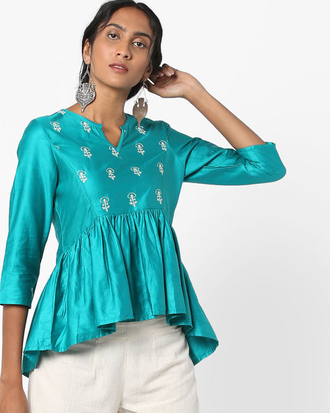 Peplum Top With Embroidery By AJIO ( Turquoise )