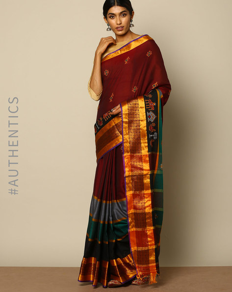 Kasuti Embroidered South Cotton Saree By Indie Picks ( Maroon )
