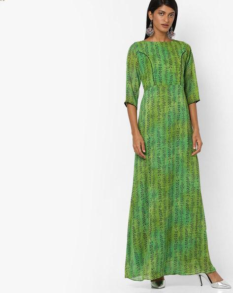 Printed A-line Maxi Dress By Aujjessa ( Green )