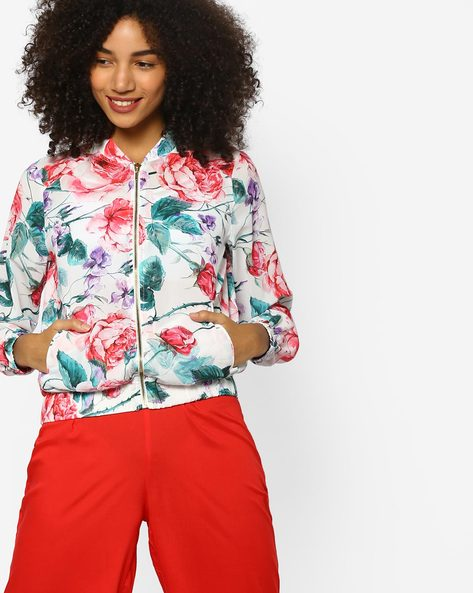 Floral Print Bomber Jacket By Project Eve WW Evening ( White )