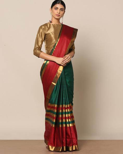 Mercerised Cotton Striped Saree With Zari Border By Indie Picks ( Green ) - 460146785001