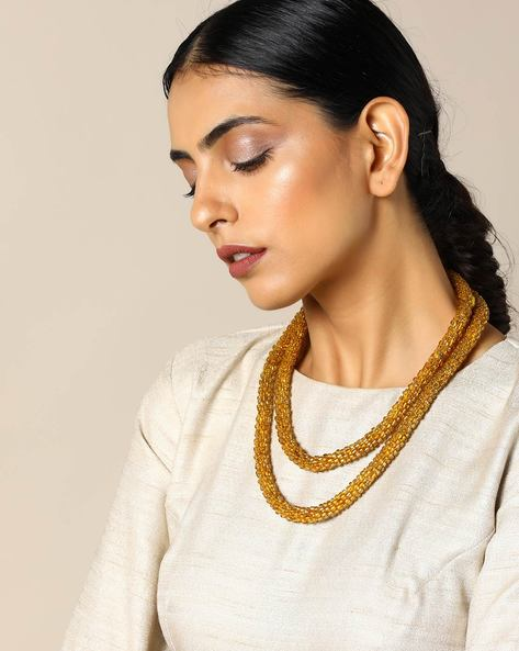 Beaded Long Necklace By Indie Picks ( Golden )
