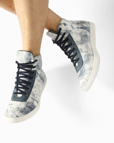 Mid-Top N9-Treated Lace-Up Sneakers By AJIO ( White )