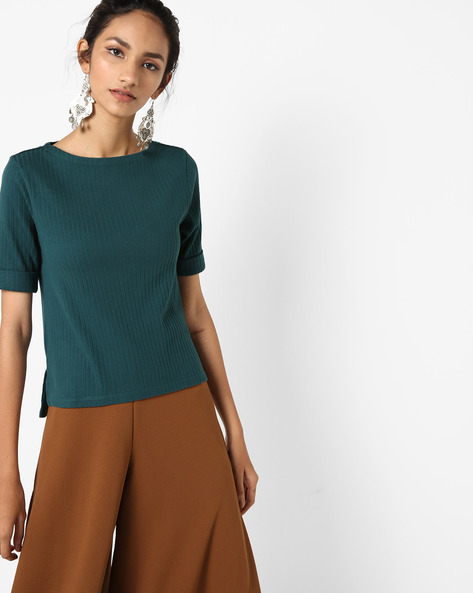 Ribbed Top With Step Hem By UNITED COLORS OF BENETTON ( Green )
