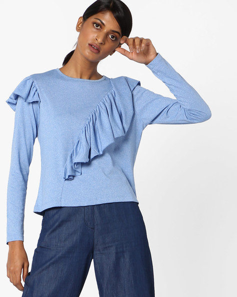 Full-Sleeved Ruffled Top By AJIO ( Blue )