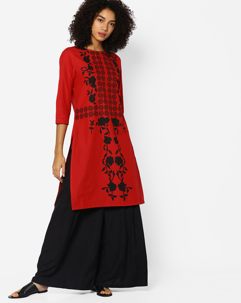 Printed Cotton Straight Kurta By Arah ( Red )