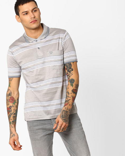 Polo T-shirt With Stripe-Tipped Hems By DUKE ( Medgrey )