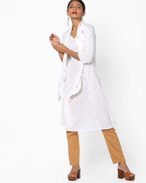 Dobby-Weave Kurta With Tie-Up Neck By AJIO ( Ivory )