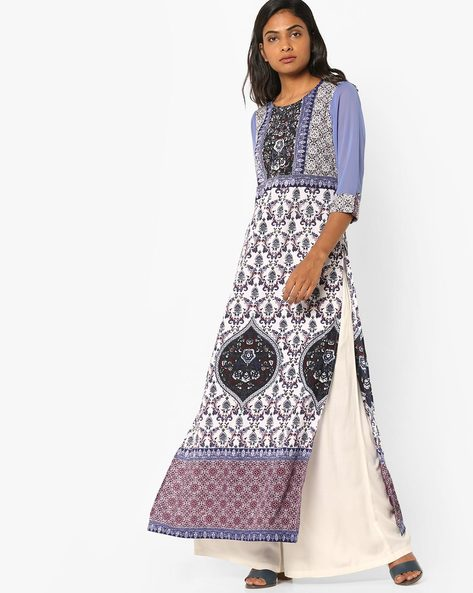 Floral Print Ankle-Length Kurta By Rain & Rainbow ( Blue )