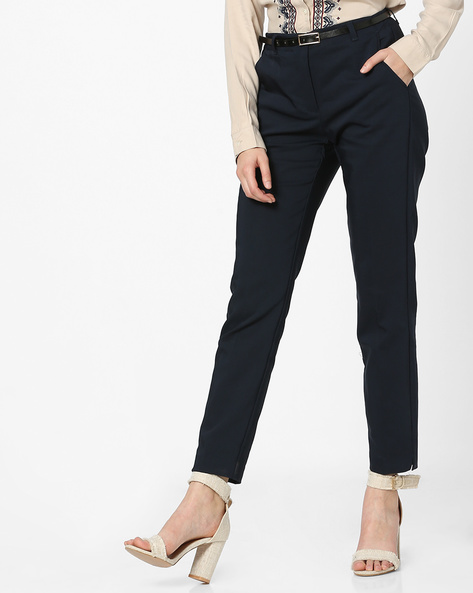 Flat-Front Mid-Rise Pants By Vero Moda ( Black )