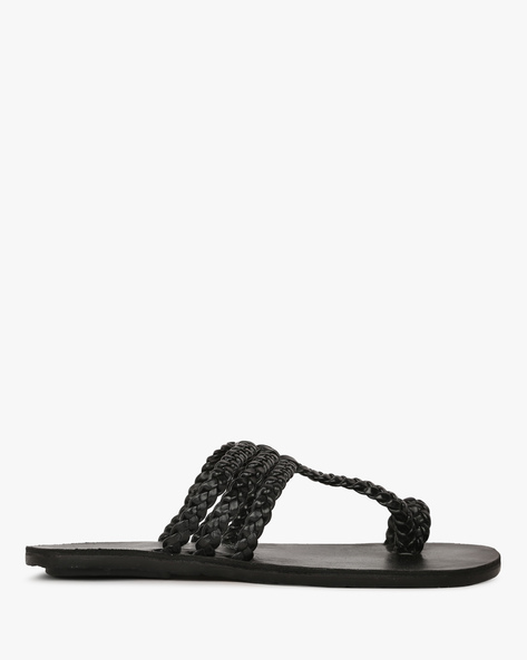 Braided Multi-Strap Slippers By HUNTERS BAY ( Black )
