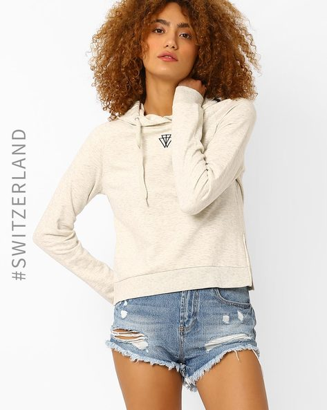 Short Sweatshirt With Printed Hood By TALLY WEiJL ( White )