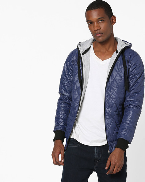 Hooded Quilted Jacket By Campus Sutra ( Blue )