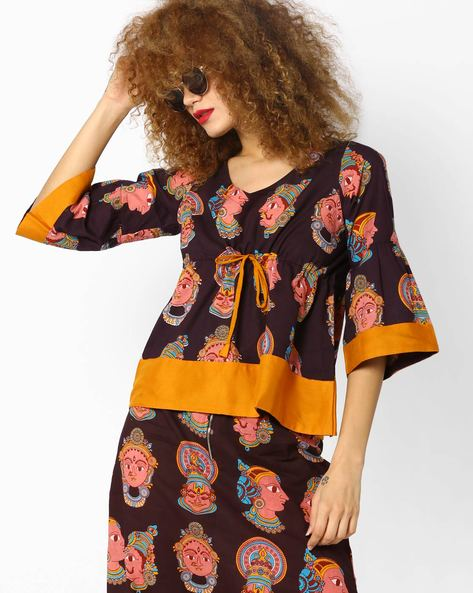 Printed Top With Bell Sleeves By Desi Weaves ( Maroon )