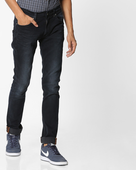 Lightly Washed Straight Fit Jeans By Killer ( Blue )