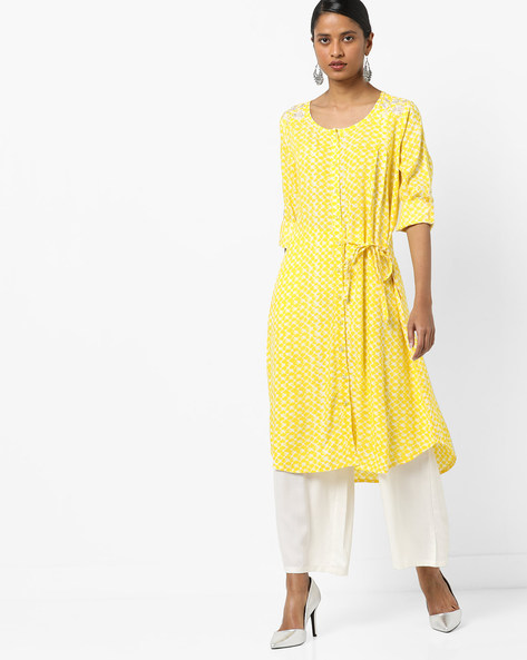 Printed Button-Down A-Line Kurta With Tie-Up By AJIO ( Yellow )
