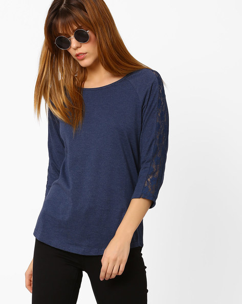 Crew-Neck Top With Lace Panelled Sleeves By Fame Forever By Lifestyle ( Navy )