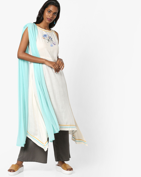 Sleeveless Kurta With Palazzo Pants By AJIO ( Offwhite )