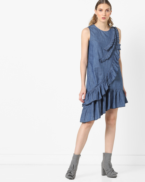 Shift Dress With Ruffled Panels By RI-DRESS ( Blue )