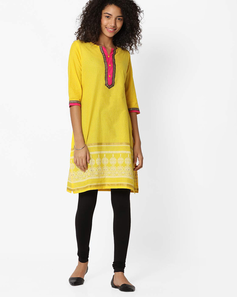 Polka-Dot Print Straight Kurta By AVAASA MIX N' MATCH ( Yellow )