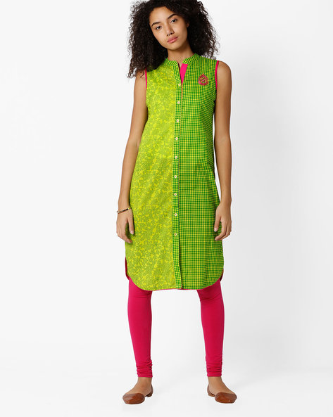 Printed Straight Kurta With Button Placket By Indian Ink ( Green )