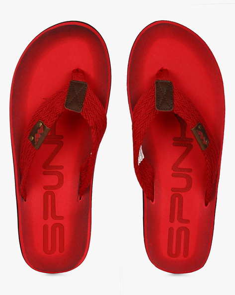 Flip-Flops With Canvas Straps By Spunk ( Red )