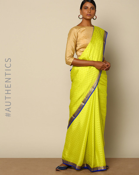Pure Mysore Silk Crepe Embossed Saree With Zari Border By Indie Picks ( Lime )