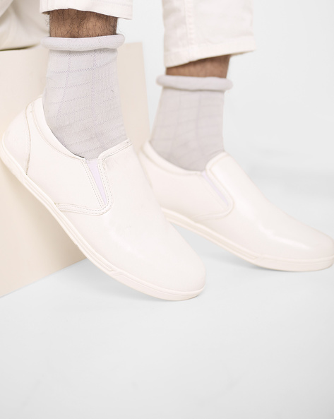 Slip-On Shoes With Elasticated Gussets By Bond Street By Red Tape ( White )