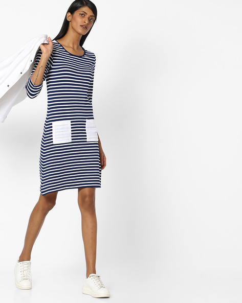 Striped Jersey Dress With Patch Pocket By RIO ( Blue )