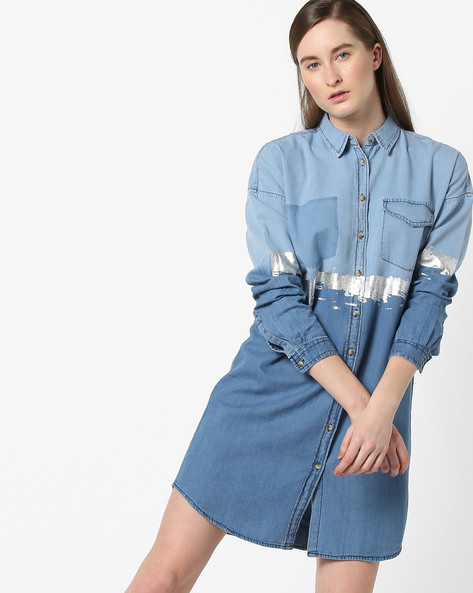 Ombre-Dyed Shirt Dress With Drop-Shoulders By AJIO ( Blue )