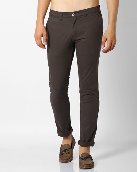 Mid-Rise Tapered Chinos By NETPLAY ( Olive )