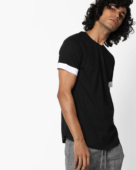 Crew-Neck T-shirt With Curved Hemline By AJIO ( Black )
