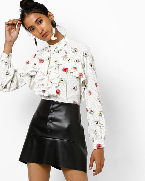 Floral Print Shirt With Ruffled Panels By Tokyo Talkies ( White )