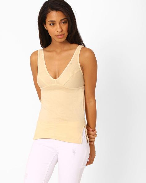 V-neck Cotton Camisole By Floret ( Skin )