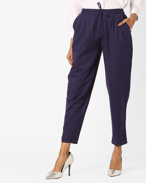 Ankle-Length Pants With Waist Tie-Up By Bitterlime ( Blue )