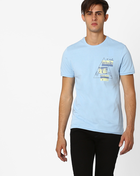 Crew-Neck T-shirt With Print By AJIO ( Blue )