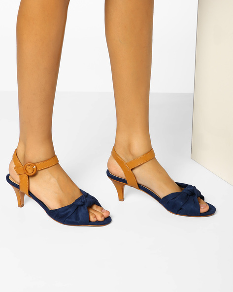 Kitten Heeled Sandals With Knotted Upper By AJIO ( Navy )