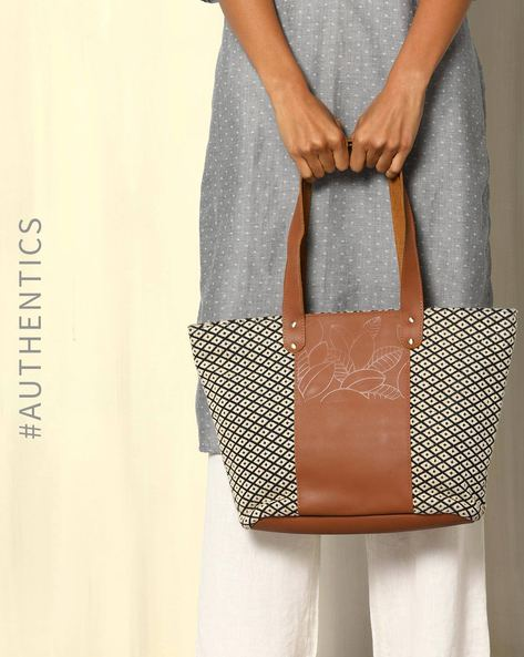 Handloom Cotton Jacquard  Genuine Leather Tote Bag By Neonia ( Offwhite )