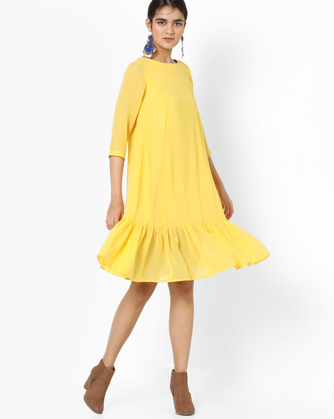 Shift Dress With Flared Hem By AJIO ( Yellow )